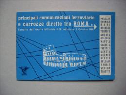 Principali Comunicazioni Ferroviarie E Carrozze Dirette ROMA. Estratto Orario Ufficiale F.S. 1960 - Europa