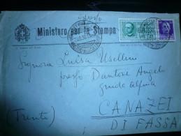 Ministero Cultura Popolare Roma 29.08.38 5 Timbri Al Verso - Storia Postale
