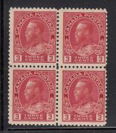 Canada MNH Scott #109 3c George V ´Admiral´, Carmine Block Of Four - Neufs