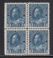 Canada MNH Scott #115 8c George V ´Admiral´, Blue Block Of Four - 1911-1935 Règne De George V