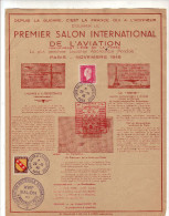 FEUILLE - PREMIER  SALON   INTERNATIONAL  DE   L  AVIATION - PARIS  - NOVEMBRE  1946 - Avions