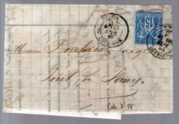 France Sage 90 CAD Dijon 18-09-1880 - Rouhier Pont De Pany Lettre LAC Banque Guiot - Fiscal Quittances Reçus Décharges - Marcophilie (Lettres)