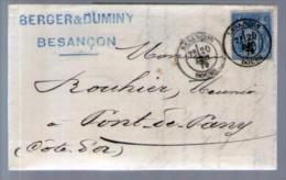 France TP Sage 90 - CAD Besançon 20-12-1879 Pour Rouhier Pont De Pany - Lettre LAC Berger & Duminy - Marcophilie (Lettres)