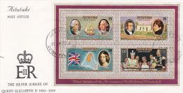 Aitutaki 1977 Queen Elizabeth II Silver Jubilee Mini Sheet FDC - Aitutaki