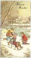 BONNE ANNEE - Enfants Luge, Boules De Neige - Nouvel An