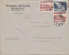 Poland ROBERT SCHULTZ, BYDGOSZCZ 1937 Cover Brief To BRAUNSCHWEIG Germany Building Stamps - 1919-1939 République