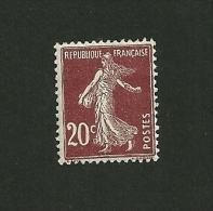 FRANCE 1907/1920    N° 139     Type Semeuse Fond Plein Sans Sol  ( 20c. Rouge/brun )     NEUF - Neufs