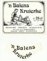 - *   'n BALENS  KRUIERKE    . **  2 X BIERETIKET -N.V. Drinkhal GEENEN  -BALEN - Balen