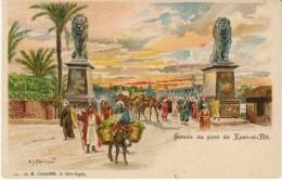 Kass-el-Nil Nile Bridge, Franka Aritst Signed, Camels Men, C1900s Vintage Postcard - Egipto