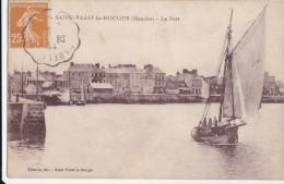 50  SAINT VAAST LA HOUGUE  Coin De La Ville Maisons Bord De MER  PORT Voilier Bâteau De Pêche Pêcheurs 1928 - Saint Vaast La Hougue
