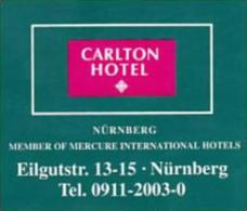GERMANY NUERNBERG CARLTON HOTEL VINTAGE LUGGAGE LABEL