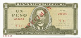 Jose Marti 1 PESO 1968 P 102s SPECIMEN UNC - Cuba