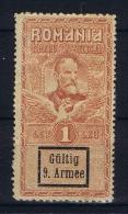 Deutsche Militärverwaltung 1918 In Romania Rumänien Etappengebiet 9. Armee Steuermarken Revenue Tax Stamp MH/* + Singed - Besetzungen 1914-18