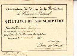 CLERMONT FERRAND -QUITANCE DE SOUSCRIPTION - 1855- ASSOCIATION DES DAMES DE LA PROVIDENCE - Cachets Généralité
