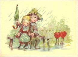 Fille - Garçon - Couple D'amoureux Sous La Pluie - Kinder