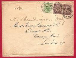 XL-507   ANVERS STATION   Ocb 45+49+49 Op Brief Naar LONDON   Drievoudig Brieftarief (30à 45 Gram) Scheurtje In Brief - 1869-1883 Leopold II.