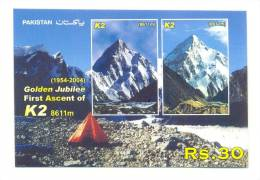 2004 Pakistan Italy Golden Jubilee Of First Ascent Of K2 Mountains S/S M/S Mint Never Hinged. - Pakistan