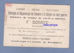 Carte Ancienne - LANGRES - Maison F. Bonnet , Tapissier , Literie , Siéges , ... - 20 Rue Saint Ferjeux -  RARE - Langres