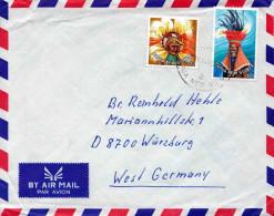PAPUA NEW GUINEA 195?, 2 Fach Sondermarken Frankierung Auf Brief Von Papua New Guinea > Würzburg - Papua-Neuguinea