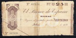 ESPAÑA-BILBAO  1935.  25 PESETAS TIPO CHEQUE RARO . MBC .   B 527 - [ 2] 1931-1936 : República