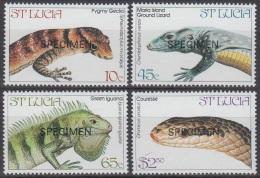 Specimen, St. Lucia Sc661-4 Endangered Reptiles, Gecko, Snake - Reptiles & Batraciens
