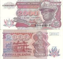Zaire P36, 2,000 Zaires, Mobutu / Platform Fishing With Nets, Caring Of Woman - Zaïre
