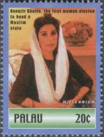 Benazir Bhutto, The First Woman To Head An Islamic State, Assasinated, MNH Palau - Famous Ladies
