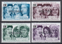Specimen, Tuvalu Sc594-7 Columbus, Discovery Of America - Christophe Colomb