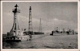 ! Alte Ansichtskarte Gotenhafen, Leuchtturm, Phare, Lighthouse, Hafen - Danzig