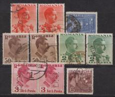 Rumänien; 1934/8; Michel 447, 490, 492, 494, 547, 550 O; Karl II Und Balkanbund; 10 Stück - Gebraucht