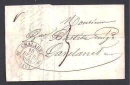 AUDE - Cachet Type 12 De CHALABRE  Sur Lettre De 1844 - 1801-1848: Voorlopers XIX