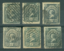 Newfoundland: 1890   QV     3c   Selection (6)    Used - Newfoundland