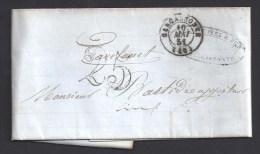 AUDE - Cachet Type 15 De CARCASSONNE  Avec Taxe 25 Au Tampon Sur Lettre De 1851 - Postmark Collection (Covers)