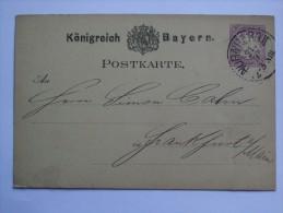GERMANY BAYERN 1880 POSTCARD NURNBERG TO FRANKFURT WITH SCHROGLER AND SCHECKENBACH NURNBERG CACHET - Beieren