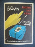 Germany: Old Matchbox Label - Dein Päckchen Nach Drüben - Sie Warten Darauf! Neue Merkblätter An Allen Postschaltern - Zündholzschachteletiketten