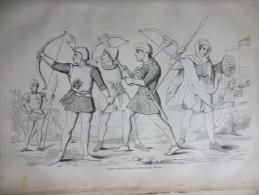 Archers Du 13éme Et 14éme Siécle , Gravure De Sotain 1880 - Documents Historiques