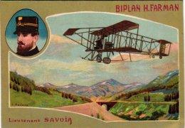 AVIATION   1 CP  Biplan H Farman  Illust V Mellone  Lieutenant Savoia   LITHO - ....-1914: Précurseurs