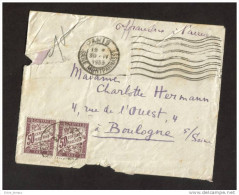 Lettre Taxée 1 F 2x0.50 Non Affranchie Au Départ Paris Pour Boulogne - Marcofilia (sobres)