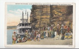 BT16956 Indians And Steamer Near The Stand Rock  USA Scan Front/back Image - Etats-Unis