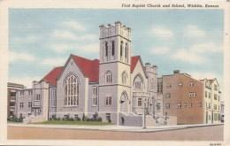 BT17052 First Baptis Church And School Wichita Kansas  USA Scan Front/back Image - Wichita