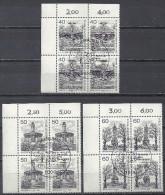 Deutschland Berlin 1980 Mi 634 635 636 Berliner Ansichten ESST Viererblock Eckrand Yv 595 596 597 - Berlin (West)
