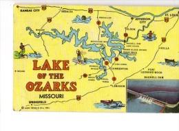 BT19426 The Lake Of The Ozarks  Map Cartes Geographiqu USA Scan Front/back Image - Etats-Unis