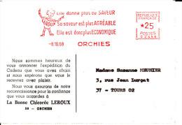 """EMA """" CHICOREE LEROUX """" Sur Carte Du 8.1068 - Marcophilie (Lettres)"""