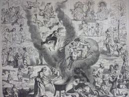 Sabbat , Sorciéres , Diablotins , Gravure De 1880 - Documenti Storici