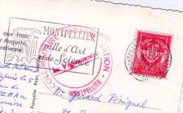 Cachet - Ecole Militaire D'administration - Montpellier ( Sur Carte Postale) - Marcophilie (Lettres)