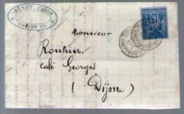 France TP Sage 90 - CAD Chalon Sur Saône 23-02-1881 Pour Rouhier Pont De Pany - Lettre LAC Janet Cadet Grains Farines - Marcophilie (Lettres)