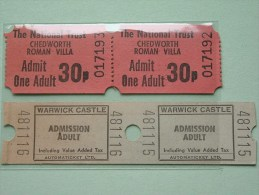 WARWICK Castle (2) / Chedworth Roman - Villa The National Trust (2) !! - Tickets - Vouchers
