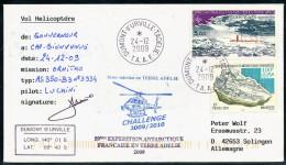 ANTARCTIC, TAAF, D. D´URVILLE, 24.12.2009, HELICOPTER-Flight  Mission ORNITHO + Sign Pilot !! - Polar Flights