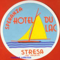 Voyo HOTEL DU LAC Stresa Italy Hotel Label 1960s Vintage - Etiquettes D'hotels