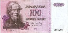 BILLETE DE FINLANDIA DE 100 MARKKAA DEL AÑO 1976  (BANKNOTE) - Finlandia